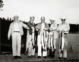 Dwight D. Eisenhower and his brothers on a fishing trip proudly exhibit muskies and northern pike on a Wisconsin lake. From left are Dwight, Edgar, Milton, and Roy Eisenhower.