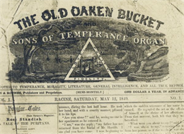 Masthead of Racine, Wisconsin temperance publication The Old Oaken Bucket and Sons of Temperance Organ.