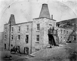 Exterior view of one of Wisconsin's earliest breweries, Garden City Brewery, built in 1854.