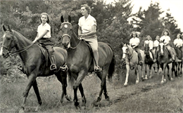 Group of campers riding horseback on a trail in a wooded area.
