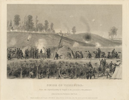 An etching published by Johnson, Fry & Company from a painting by Chappel of the Union lines during the battle.