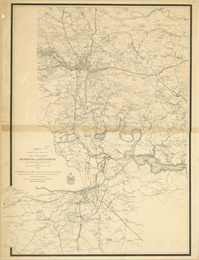 This detailed map of the area between Richmond and Petersburg shows fortifications, roads, railroads, towns, street patterns of Petersburg and Richmond.