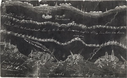 A drawing of the siege of Petersburg, VA, April 2-9, 1965. From a sketch by James Kiness.