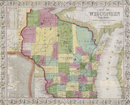 "Map reads, ""Map of Wisconsin""."