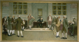"Painting, in the Wisconsin State Capitol, of ""The Signing of the American Constitution""."