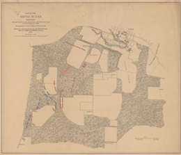 This map of the Battle of Iuka depicts the May 19, 1862, positions of the Union forces in blue and Confederate in red.
