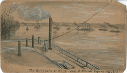 "An image from a sketchbook of ""The Gunboats at No. 10 — Eve of Arrival before the [Island]""."