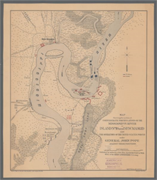 This map of the Mississippi River between Island No. 8, northeast of New Madrid, Missouri, and Tiptonville, Tennessee, depicts the Confederate defenses at Island No. 10, New Madrid, and Tiptonville.
