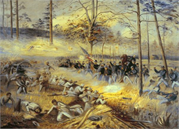 """Battle of Chickamauga"", an oil painting depicting a dramatic moment in the Battle of Chickamauga, painted by Alfred Thorsen after the lithograph."