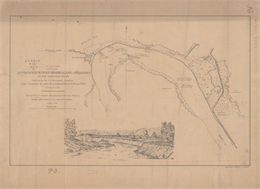 This map illustrates the position of Fort Hindman at Arkansas Post on the Arkansas River.