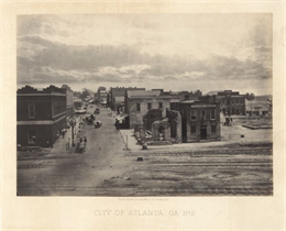 Elevated view of commercial area of the city, taken after General Sherman marched through.