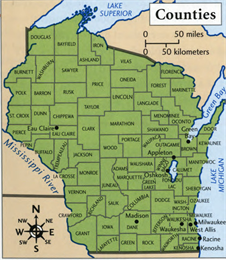 Map showing all 72 counties of Wisconsin.