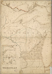 Map of Wisconsin including Lakes Michigan and Superior.