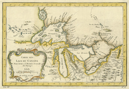 Very early map showing all of the Great Lakes.
