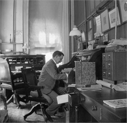 Reuben Gold Thwaites, secretary of the State Historical Society, at his desk in the South Wing of the third Wisconsin State Capitol.