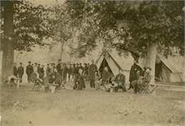 The headquarters camp and officers of the 16th Wisconsin Volunteer Infantry in Tennessee.