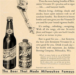 Advertisement for Schlitz Sunshine Vitamin D beer, 1936