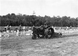 African American field worker levels the ground with a McCormick-Deering F-12 tractor and a rotary scraper.