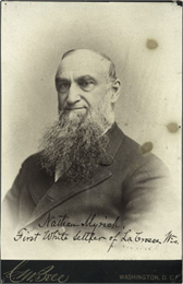 Portrait of Nathan Myrick, first white settler of La Crosse.