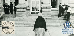 Photograph of a woman approaching a courthouse with superimposed Freedom Summer logo