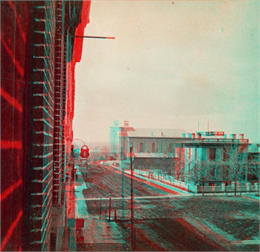 View of intersection of Main and Carroll Streets in Madison; 3-D image