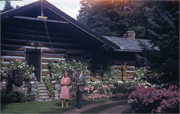 Mary Griggs outside lodge - 1960