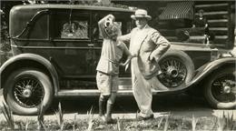 Mary Griggs with her father Theodore Griggs at Forest Lodge, c1924