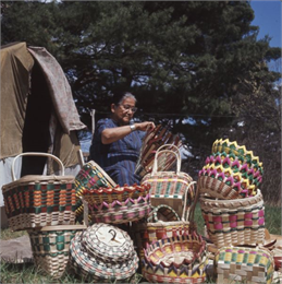 Mable Lowe Weaving Baskets