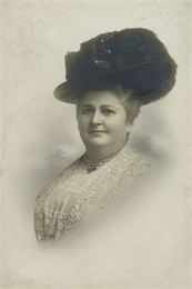 "Vignetted studio portrait of Elizabeth ""Lizzie"" Black Kander"