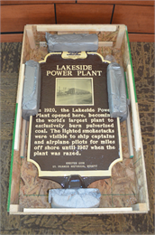 Photograph of Lakeside Power Plant historic marker, still in shipping crate
