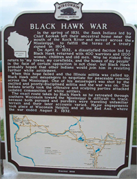 Photograph of historic marker for Black Hawk War, including map of sites