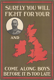 British poster with a circular framed portrait of the king dressed in a military uniform, and a red map of the United Kingdom.