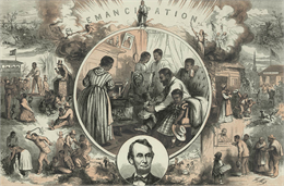 Thomas Nast published this engraving in Harper's Weekly in January 1865 celebrating the passage of the Emancipation Proclamation