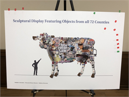 Exhibit design rendering of a giant cow art installation. (Credit: Gallagher & Associates)
