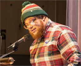 "Well-known Madison spoken word artist Rob Dz delivers an eloquent performance: ""Stand up and share your voice,"" he said in one verse. ""Speak what is on your mind, because there was a time when we didn't have a choice."""