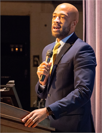 """Despite some flaws and the challenges in race we face, I am still proud to call this place home, because I know what we were before and I know exactly what we can be,"" Lt. Gov. Mandela Barnes tells the crowd."
