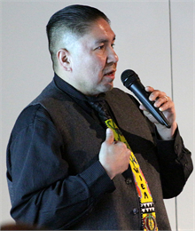 "Brian Jackson, president of the Wisconsin Indian Education Association, talks about his outreach efforts during the Wisconsin Historical Society's ""Share Your Voice"" new museum American Indian Engagement Session Feb. 19, 2019 in Madison."