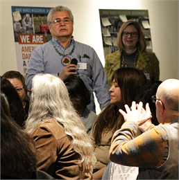 "Guests discuss how the story of American Indians of Wisconsin should be told in a new state history museum during the Wisconsin Historical Society's ""Share Your Voice"" session Feb. 19, 2019 at the Wisconsin Historical Museum in Madison."