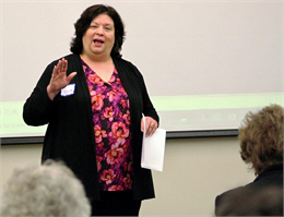 "Alicia Goehring, Director of Special Projects at the Wisconsin Historical Society, welcomes guests to the Society's ""Share Your Voice"" session May 2, 2019 in Platteville."
