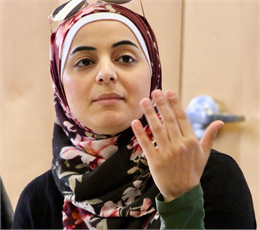 "Alaa Mohammad makes a comment during the ""Share Your Voice"" session at the Islamic Resource Center in Greenfield. ""I think it's very important ... that you confirm that your information is accurate,"" she said."