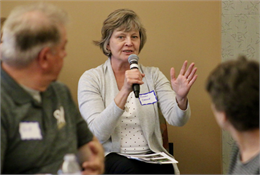 "Susan Crane, a member of the Wisconsin Historical Foundation's Board of Directors and resident of the nearby town of Brighton, attended the session in Kenosha. ""It's heartwarming to hear all of the stories of our community,"" she said."