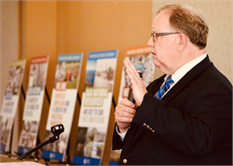 "Christian Øverland, the Ruth and Hartley Barker Director of the Wisconsin Historical Society, discusses the new museum project with guests at the ""Share Your Voice"" listening session May 22, 2019 at the Civil War Museum in Kenosha."