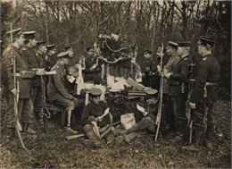 German reserve soldiers celebrating Christmas in 1914. This type of image was very popular with German audiences, reflecting a sense that life in wartime could still have elements of peacetime comforts and normalcy.