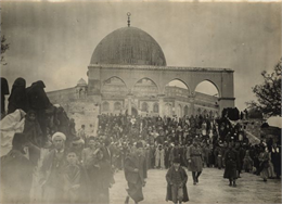The Ottoman governor of Greater Syria, Ahmed Djemal Pasha, leaves the Dome of the Rock in Jerusalem in December 1914.