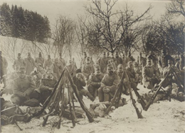 Austrian troops at rest near Uzsok Pass, one of three routes through the Carpathian Mountains