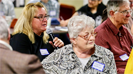 "Wausau elementary school teacher Deb Bauman comments on a new museum rendering during the Wisconsin Historical Society's ""Share Your Voice"" listening session June 10, 2019 in Wausau."