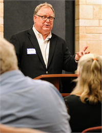 "Christian Øverland, the Ruth and Hartley Barker Director of the Wisconsin Historical Society, welcomes guests to the ""Share Your Voice"" new museum listening session June 27, 2019 at the St. Francis Civic Center."