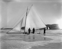 Dutton and Wheeler's Iceboat. The image appeared in the January section of the 1990 Wisconsin Historical Calendar.
