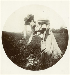 Jessie Turvill Thwaites Picking Flowers. The image appeared in the August section of the 1992 Wisconsin Historical Calendar.