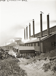The Bay View Rolling Mill, ca. 1885. Although its workers were treated more fairly than those at other factories, the mill became the location for the bloodiest event in Wisconsin's labor history.